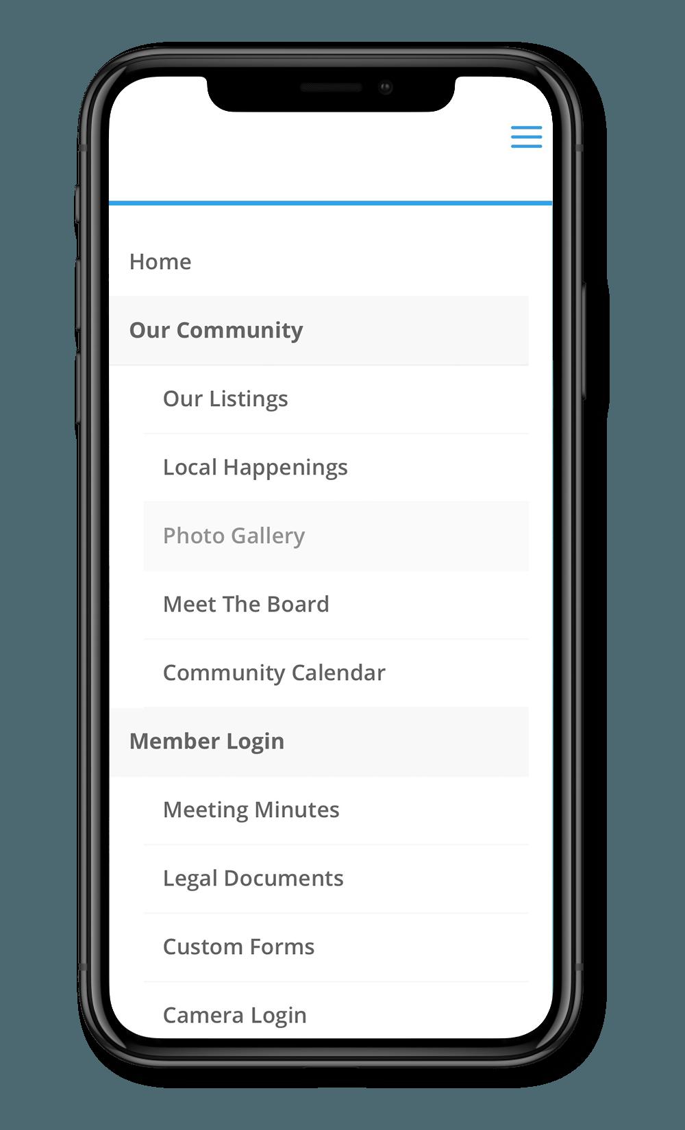 condo website navigation menu