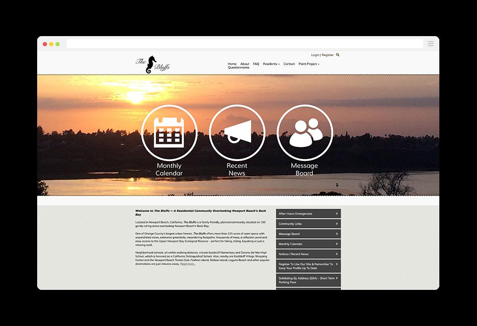 the bluffs community association website
