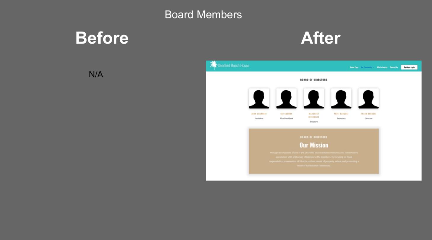HOA website board member profile condo website