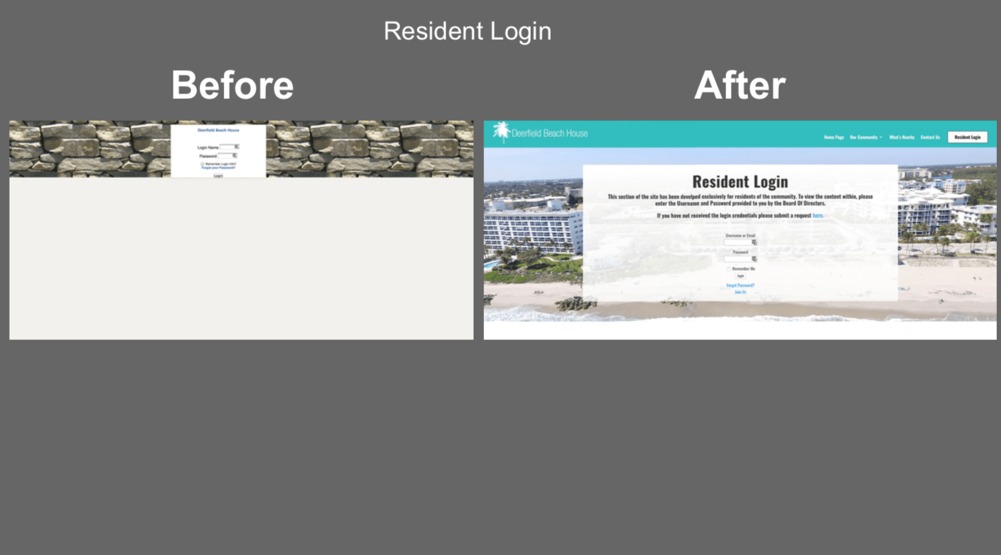 hoa community website resident login portal