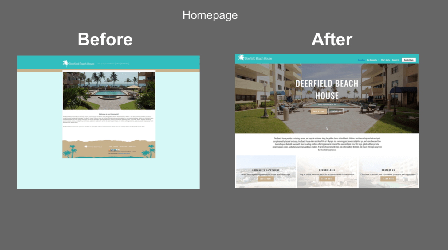 hoa website before and after