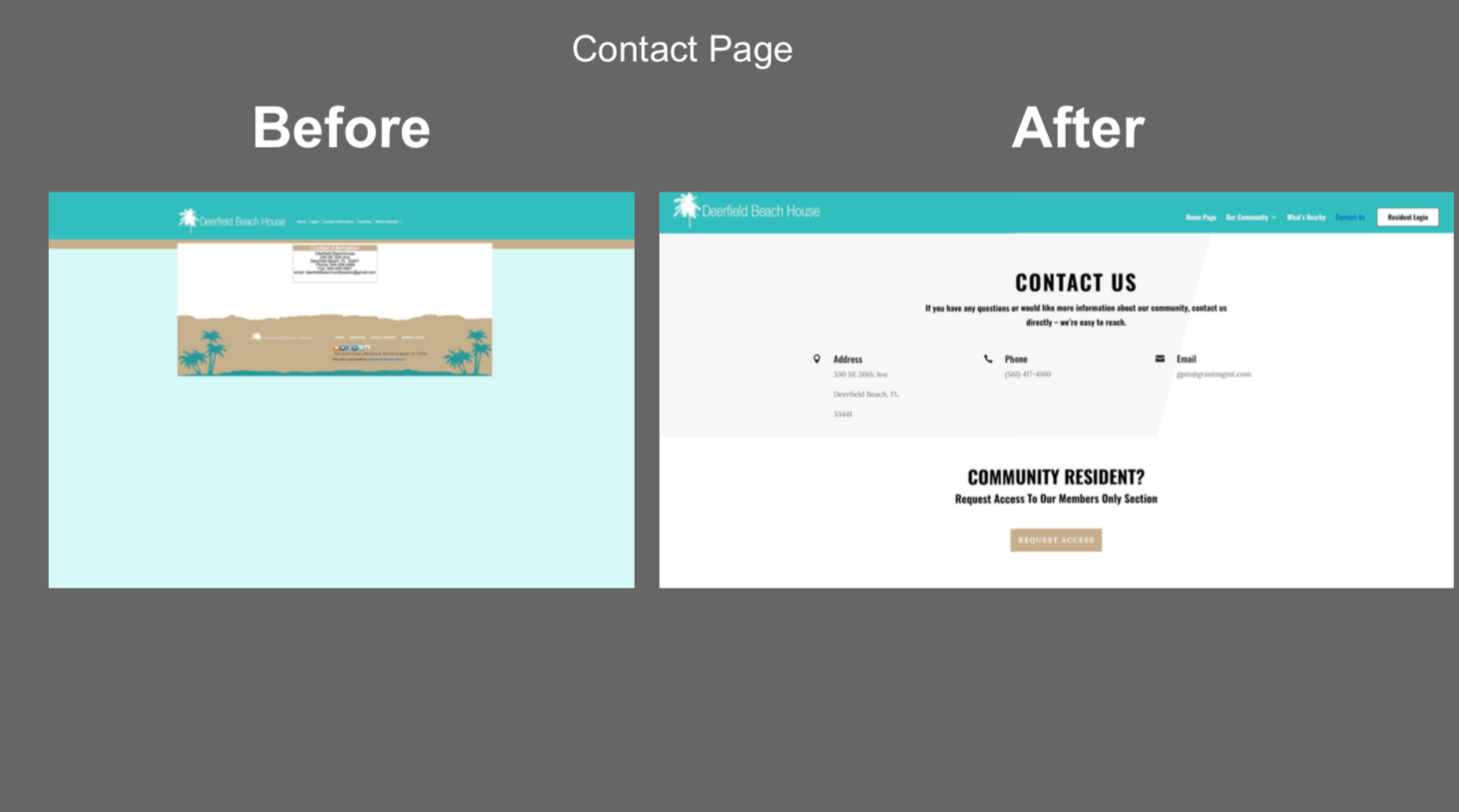 hoa website contact us page before and after picture